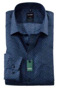 donkerblauw-overhemd-mouwlengte-7-olymp-stippen
